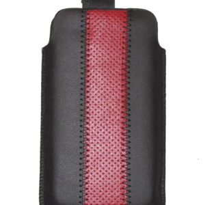 Universal leather Pouch - Black/Red
