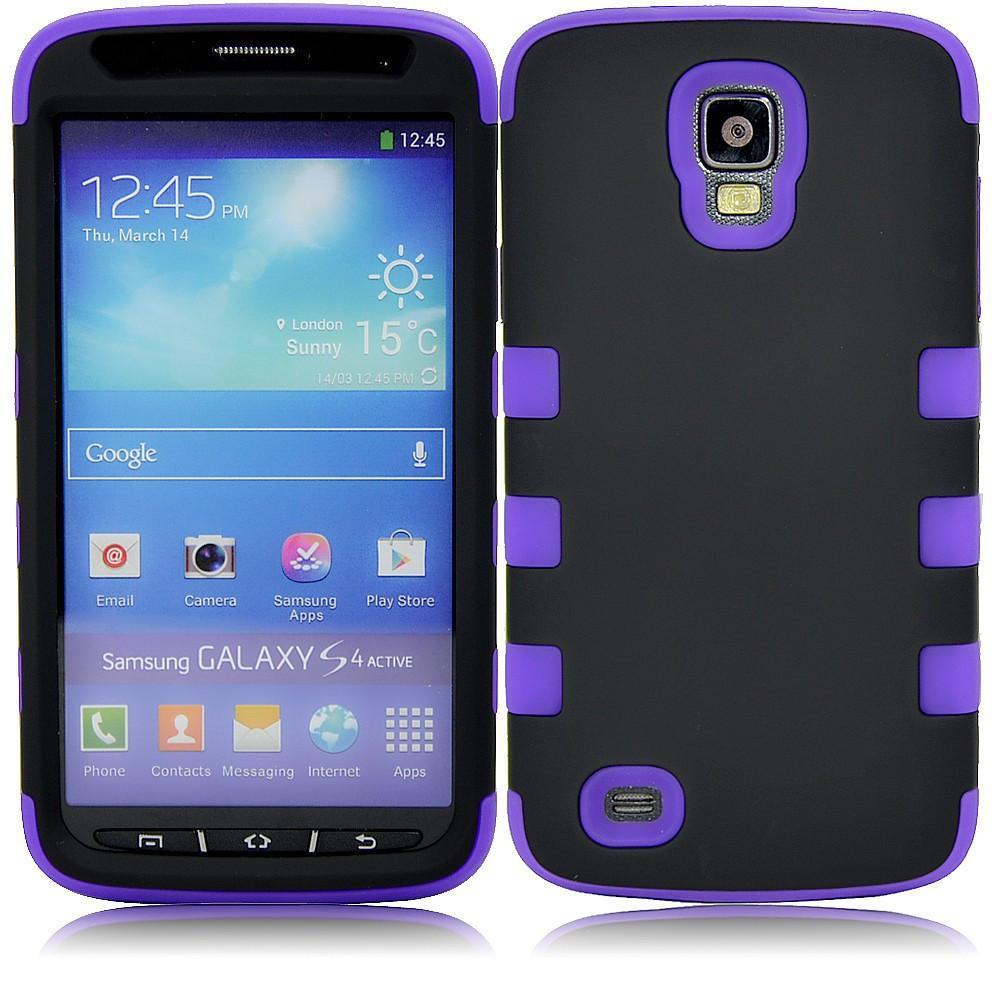Samsung S4 Dual layer case - Black/purple