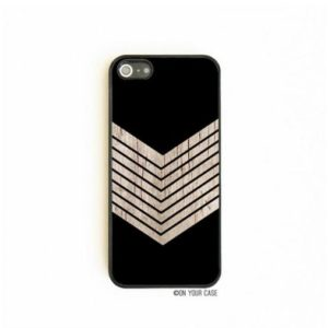 On Your Case iPhone 5/5S Case Black Geometric Minimalist Wood Grain Chevron