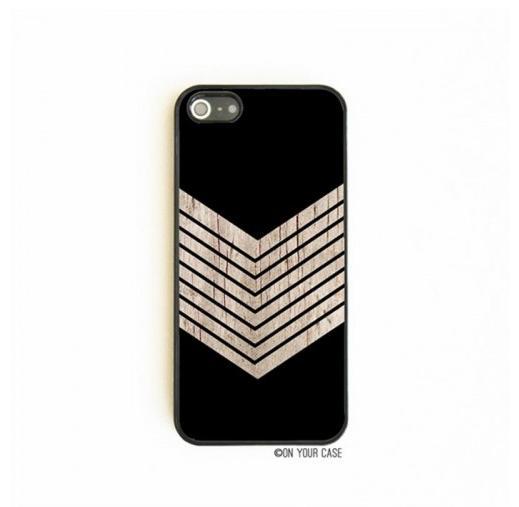 On Your Case iPhone 5/5S Case Black Geometric Minimalist Wood Grain Chevron