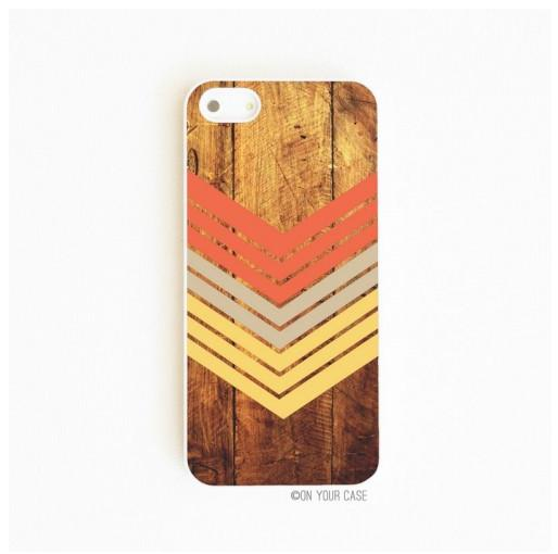 On Your Case iPhone 5/5S Case Dark Wood Geometric Nectarine