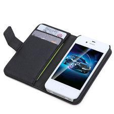 iPhone 4S Flip Wallet Leather Cases - Black